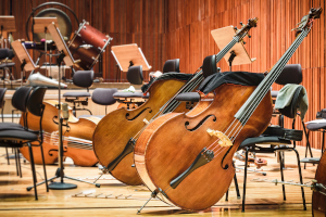 Orchestral instruments on a stage