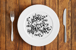 Music notes and symbols on a plate