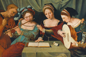 Old painting of women playing music